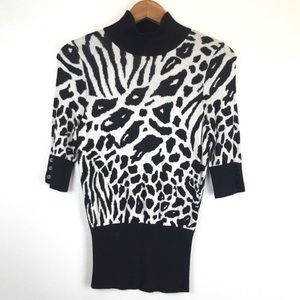 Express Leopard Zebra Print Sweater Top
